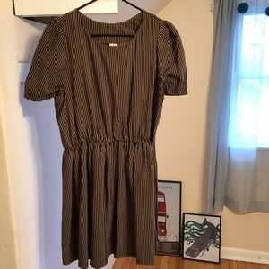 Brown/Black Striped Baby Doll Dress